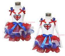 UK British Flag Heart White Top Girl Red White Blue Petal Pettiskirt NB-8Year