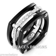 Men's Solid Titanium Wedding Engagement Bridal Band Black IP CZ Ring Sizes 6-14