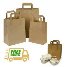 Brown Kraft Paper Takeaway Food Carrier Bags SOS Party Fast Food - Low Prices