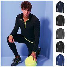 Mens Half Zip Long Sleeve Running Training Sports Gym Top T Shirt S–2XL 5 Colour