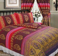 Il Kashmir Rosso Borgogna oro viola etnica indiana Fiori Puntini Biancheria da letto o tende