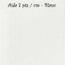 COUPON TOILE à BRODER, AÏDA 7 pts/cm - BLANC - Plusieurs choix de taille