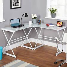 L Shaped Computer Desk White Steel Frame Glass Top Dorm Home Office Corner Table