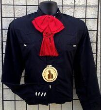 Mexican Black Charro Western/Mariachi Shirt.Camisa Charra Espuela de Oro Negra