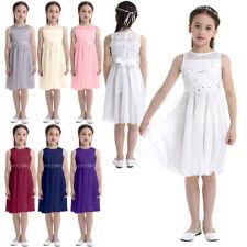 Kids Girls Sparkle Belt Sequins Lace Flower Girl Bridesmaid Wedding Party Dress