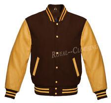 Letterman Baseball Varsity Brown Wool and Genuine Gold Leather Sleeves Jacket
