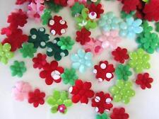 200 Christmas Red/Green Cotton/Felt Holiday Fabric Applique/Dot/trim H564-Flower