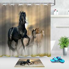 72/79'' Fabric Waterproof Running Horses Shower Curtain Bath Mat Accessory Set