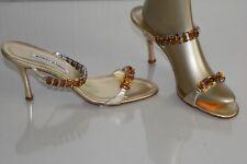 $1085 NEW MANOLO BLAHNIK DALLI Jeweled Gold Platinum SANDALS SHOES 39.5 40 41.5