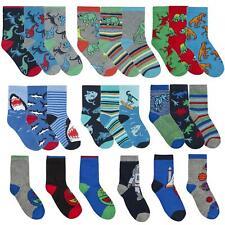 6 pairs Boys Novelty Shark Dinosaurs Dino Cotton Rich Socks Size 6-8 ,9-12,12-3