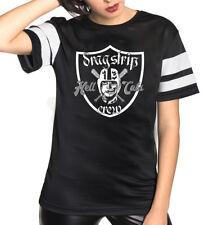 Dragstrip Clothing Chica Malla Tee Infierno Gatos 13 larga de malla de béisbol/Fotball Tee
