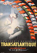 Affiche compagnie maritime Générale Transatltantique - La Mer et L'Outremer