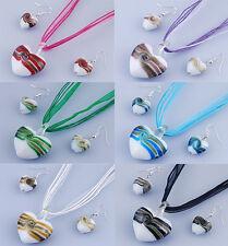 HEART NECKLACE & EARRINGS MURANO GLASS LAMPWORK