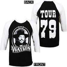 Authentic Waylon Jennings '79 Tour Raglan T-Shirt Black White S-3XL NEW