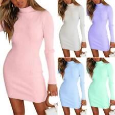 Womens Turtleneck Knit Sweater Ladies Slim Fit Jumper Bodycon Mini Dress Autumn