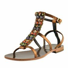 "Emanuela Caruso ""Capri"" Women's Stone Decorated Flat Sandals Shoes Size 5 6 7 10"