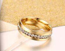 Edelstahl Damen Herren Ring Strass Ehering Verlobungsring Trauring Gold Neu