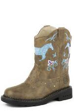 Roper Western Boots Girls Bling Flower Horse Tan 09-018-1202-0032 TA