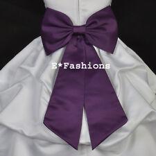 PLUM PURPLE TIE BOW SASH FOR WEDDING FLOWER GIRL DRESS sz S M L 2 4 6 8 10 12 14