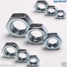 ZINC PLATED BZP STEEL HALF THIN LOCK NUTS M3 M4 M5 M6 M8 M10 M12 M14 M16 M20 439