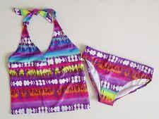 Girls 8 10 12 14 1/2 + Plus Purple Pink Orange Blue Tribal Tankini Swimsuit Swim