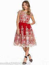 CHI CHI LONDON rouge métallisé Midi lacets bal mariage Robe soirée UK 8 14