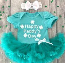 PRINCESS PADDY'S TUTU ROMPER, White Glitter Happy Paddy's Day Light Green