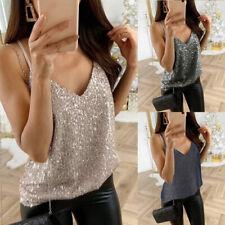 Ladies Womens Glitter Strappy Tank Tops Sexy Sparkle Cami Swing Vest Clubwear US