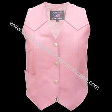 Ladies Women's Pink Leather Motorcycle Biker Vest Sizes XS-5X