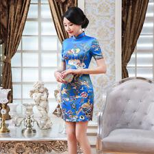 Womens Cheongsam Silk Satin Short Sleeve short mini Chinese gorgeous Dress QiPao
