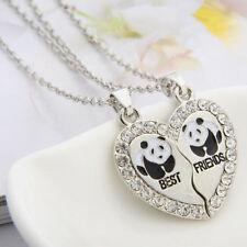 "2Pcs/Set Broken Heart ""Best Friends"" Letter Panda Crystal Pendant Necklace New"