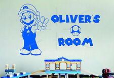 Personalised Super Mario Name Mushroom Decorative Vinyl Wall Art Sticker Decal