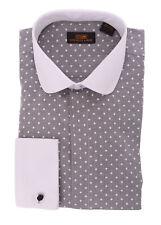 Steven Land Regular Fit Black Herringbone Spread Collar Cotton Dress Shirt