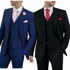 Cavani Mens Suit Blue Black 3 Piece Work, Wedding or Party Work Suit BNWT