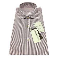 XACUS camisa de hombre estriado blanco/burdeos 100% algodón Albini ajustado