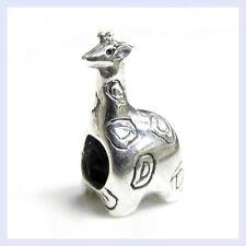 .925 Sterling Silver Cute Wild Animal Giraffe Bead for European Charm Bracelet