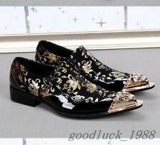 Men Metal Pointed Toe Floral Printed Leather Wedding Formal Slip On Dress Shoes