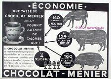 PUBLICITE DE 1933 CHOCOLAT MENIER COCHON BOEUF MOUTON OEUFS AD ADVERT ANIMAL