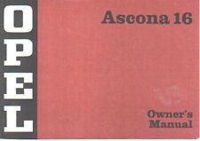 OPEL ASCONA A 16 & 19 di fine originale manuale d'istruzioni (Manuale) in INGLESE