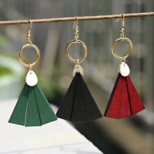 Women Shell Drop Earrings Exaggerated Wood Tassel Charm Earrings Party Jewelry