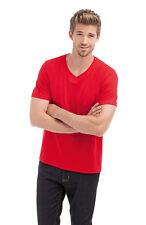 HANES UOMO TINTA UNITA ROSSO Organic Cotton VEE SCOLLO A V Tee T-Shirt S-XXXL