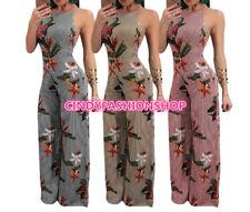 Women Floral Wide Leg Backless Print Side Zipper Chiffon Stripe Casual Jumpsuit