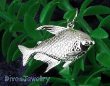 Solid STERLING SILVER 3D Tropical FISH Sealife Marine Pendant Necklace Aquarium