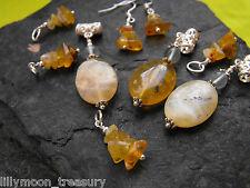 Divers jaune doré péruvien Vert opal boucles d'oreilles pendentif gemstone fluorite # 3