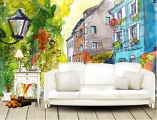 Papel Pintado Mural De Vellón Calle Acuarela De Flores 2 Paisaje Fondo Pantalla