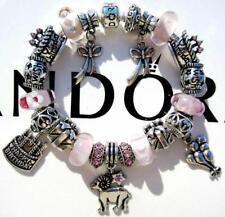 PANDORA Sterling Silver CHARM Bracelet BIRTHDAY WISH with Murano Beads CC77
