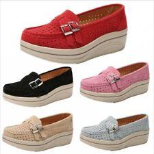 New Women Girls Platform Heel Creeper Mesh Nurse Hollow Low Top Shoes Comfy Pump