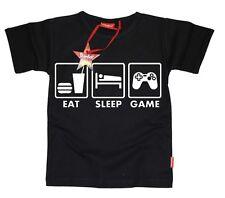 Kids Niños Niñas Adolescente Niños Super Mario-comer dormir juego Camiseta (Negro)