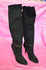 "BLACK BOOTS High HEEL 4"" Winter Women Ladies Size 10 NEW Soft Zipper Pull UP"