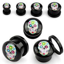 "Pair Acrylic Double Screw Fit Logo Colorful Sugar Skull Ear Plugs Gauges 6G-5/8"""